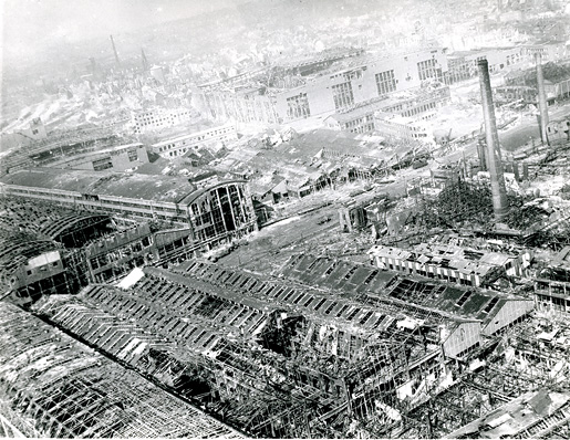 An aerial photo of destroyed buildings at Essen, Germany, in 1945. [PHOTO: IMPERIAL WAR MUSEUM—CL 2377]