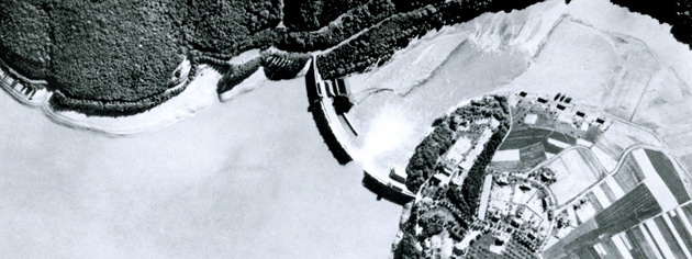 A Royal Air Force vertical reconnaissance photo reveals a massive breach in a dam in May 1943. [PHOTO: IMPERIAL WAR MUSEUM—CH 9750]