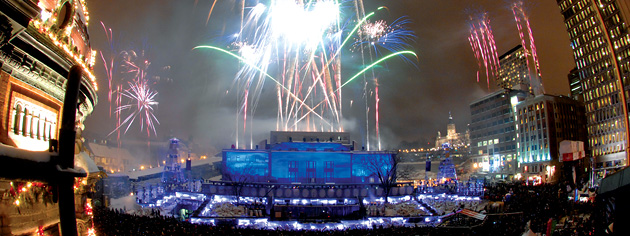 Fireworks help launch Quebec City's 400th anniversary on New Year's Eve. [PHOTO: STEVE DESCHENES]