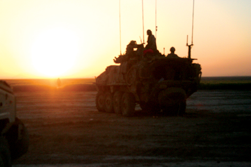 A Canadian LAV at dawn on day two of Op Ateesh Bazi. [PHOTO: ADAM DAY]