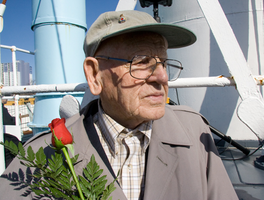Arthur Taylor stands in the sunshine on board HMCS Sackville. [PHOTO: DAN BLACK]