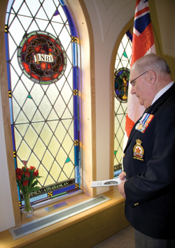 Dominion First Vice Wilf Edmond in the Chapel of Remembrance. [PHOTO: DAN BLACK]