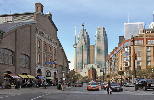 The market's facade (left), with the CN Tower in the background. [PHOTO: ST. LAWRENCE MARKET]