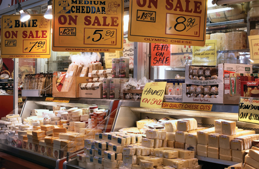 The crowded shelves of the Olympic Food & Cheese Mart. [PHOTO: ST. LAWRENCE MARKET]