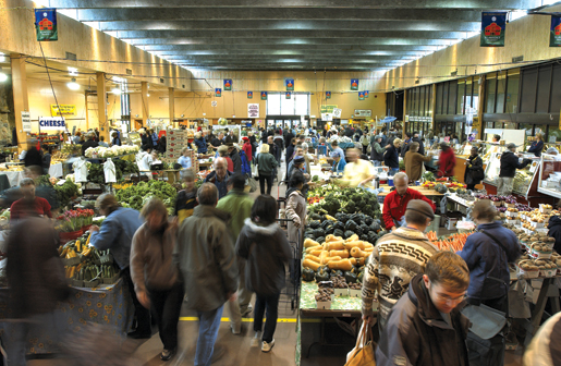 A busy day at the indoor Farmers' Market. [PHOTO: ST. LAWRENCE MARKET]