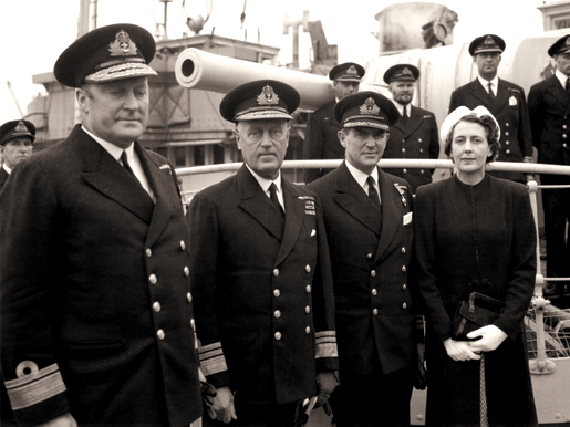 "From left: Rear-Admiral L.W. Murray, Newfoundland Governor Humphrey Walwyn, Cmdr. ""Chummy"" Prentice and his wife in 1942. [PHOTO: LIBRARY AND ARCHIVES CANADA—PA134538]"