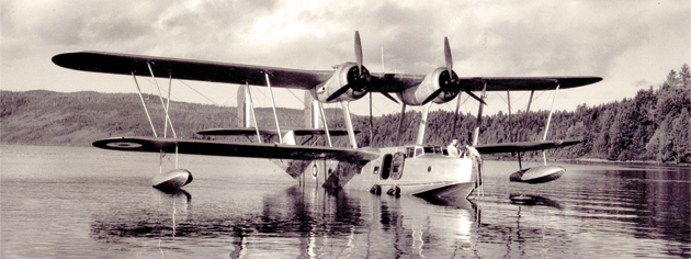 A Supermarine Stranraer at Alliford Bay, B.C., 1941. [PHOTO: DEPT. OF NATIONAL DEFENCE, LIBRARY AND ARCHIVES CANADA–PA136890]