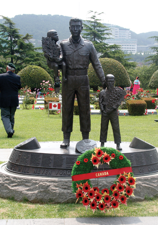The Korean War Monument to the Canadian Fallen stands in the United Nations Memorial Cemetery in Busan. [PHOTO: TOM MACGREGOR]