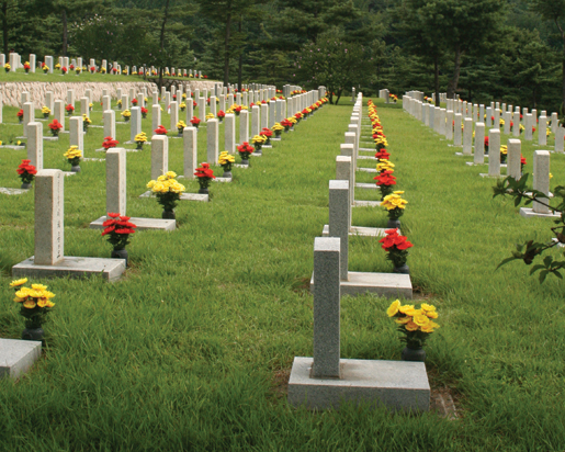 Flowers adorn graves in the Republic of Korea National Cemetery. [PHOTO: TOM MACGREGOR]