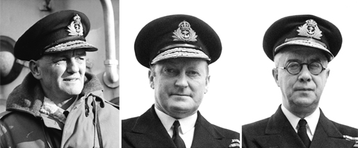 From left: Rear-Admiral G.C. Jones, Admiral L.W. Murray and Commodore Percy Nelles. [PHOTOS: GERALD M. MOSES, LIBRARY AND ARCHIVES CANADA—PA204268; LIBRARY AND ARCHIVES CANADA—PA198510]