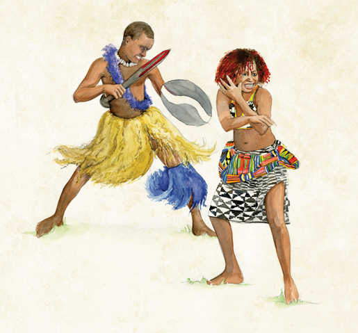 Dancers participate in a Ghanian cultural show for Prince Philip, Duke of Edinburgh. [ILLUSTRATION: JENNIFER MORSE]