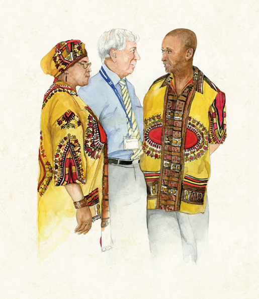 The RCEL's Honorary Legal Adviser Brian Watkins (centre) chats with delegates Avis Nathan (left) and Samuel Nathan of St. Kitts and Nevis. [ILLUSTRATION: JENNIFER MORSE]