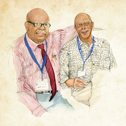 From left: Delegates Kingsley Nelson of Guyana and Reginald Cherebin of St. Lucia discuss the work of the RCEL. [ILLUSTRATION: JENNIFER MORSE]