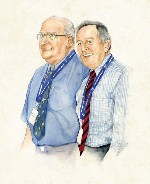 Dominion President Wilf Edmond and Dominion Secretary Duane Daly join a sing-along at the end of business sessions. [ILLUSTRATION: JENNIFER MORSE]