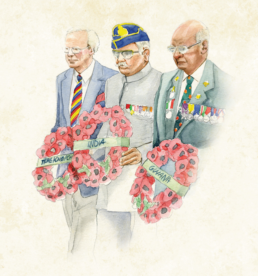 Placing wreaths are (from left) A.J. Liardet of Hong Kong, Brigadier Ram Karan Singh Gulia of India and Col. C.B.L. Morgan of Guyana. [ILLUSTRATION: JENNIFER MORSE]