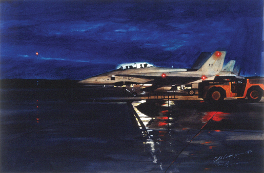 Hornet at Readiness, Night. [CANADIAN WAR MUSEUM—AN19850388-002]