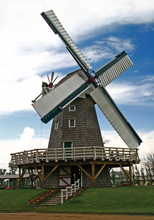 The Steinbach Windmill in the Mennonite Heritage Village in Manitoba is a replica of the original built in 1877. [PHOTO: ©iStockphoto/mikerogal]