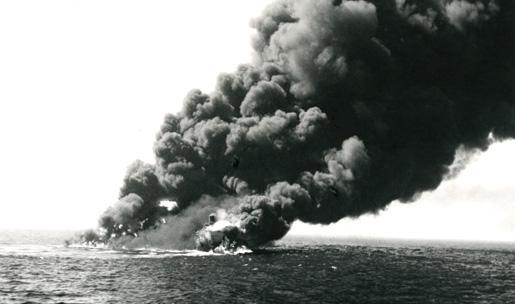 A scene of destruction during the Battle of the Atlantic. [PHOTO: LEGION MAGAZINE ARCHIVES]