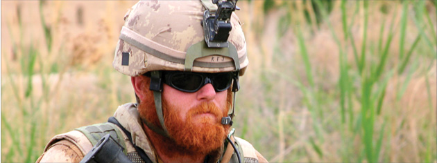 Master Corporal Erin Doyle on patrol near Haji Beach, Afghanistan, in April 2008. [PHOTO: ADAM DAY]
