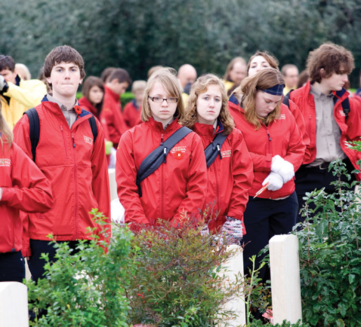 Students attend the remembrance ceremony at the Moro River Canadian War Cemetery. [PHOTO: DAN BLACK]