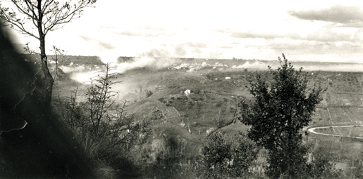 The view across the Moro River Valley, Dec. 8, 1943. [PHOTO: TERRY ROWE, LIBRARY AND ARCHIVES CANADA–PA166307]
