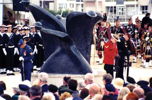 A bronze sculpture, titled Remembrance and Renewal, sits close to the entrance. [PHOTO: Dan Black]