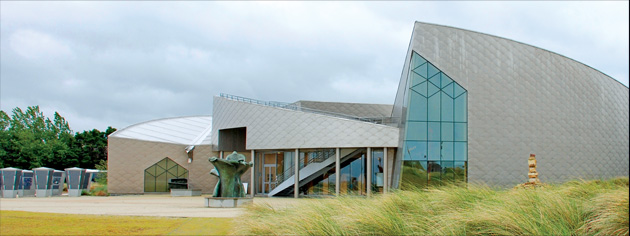 Quite unique in design, the Juno Beach Centre at Courseulles-sur-Mer in Normandy is both a learning centre and a memorial. From the air it resembles a stylized maple leaf. [PHOTO: JUNO BEACH CENTRE]