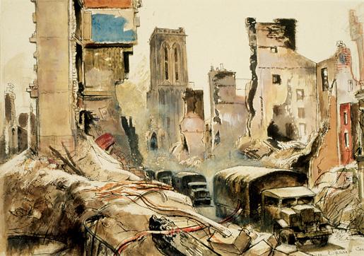 Convoy In Caen. [ILLUSTRATION: CANADIAN WAR MUSEUM–AN19710261-4485]