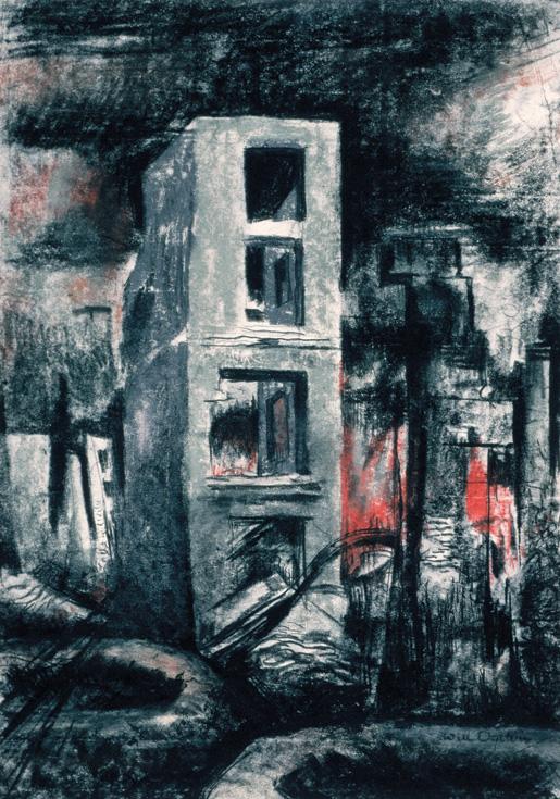 Burnt Buildings, Caen. [ILLUSTRATION: CANADIAN WAR MUSEUM–AN19710261-4441]