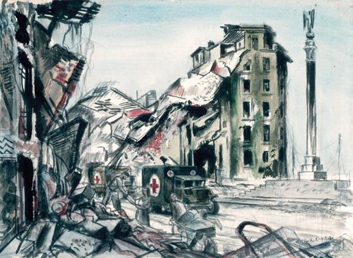 Road Through Caen. [ILLUSTRATION: CANADIAN WAR MUSEUM–AN19710261-4727]