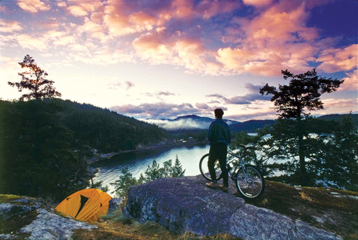 Pender Harbour offers camping and bicycling to tourists. [PHOTO: VANCOUVER, COAST & MOUNTAINS, BOB YOUNG]