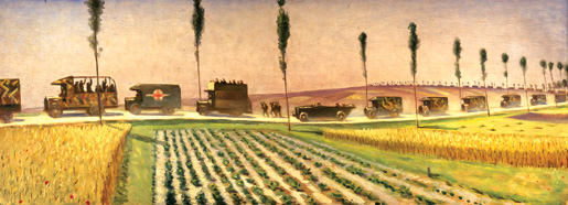 A panel from Christopher R.W. Nevinson's four-panel mural, The Roads of France. [CANADIAN WAR MUSEUM—AN19710261-0520]