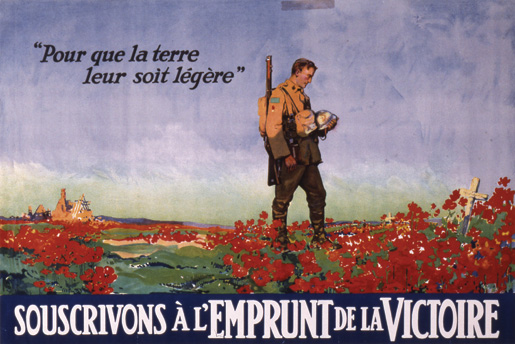 A Canadian Victory Bond poster by F.L. Nicolet features a soldier, a cross and a field of poppies. [CANADIAN WAR MUSEUM—AN19720121-300]