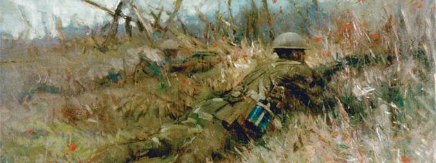 Belgian artist Alfred Bastien's painting, Canadian Snipers, Beaurain-en artois. [CANADIAN WAR MUSEUM—AN19710261-0055]