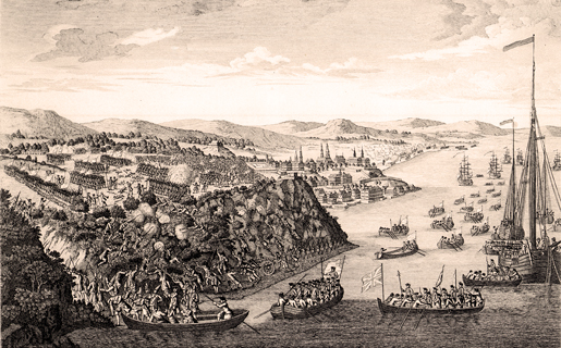 An artist's depiction of the taking of Quebec in 1759. [ILLUSTRATION: JULES-ERNEST LIVERNOIS, LIBRARY AND ARCHIVES CANADA—C-001078]