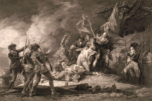 The Death Of General Montgomery, December 1775. [ILLUSTRATION: JOHN TRUMBULL, BEAVERBROOK COLLECTION, CANADIAN WAR MUSEUM—19930042-001]