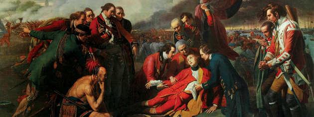Sir Benjamin West's painting The Death Of Wolfe depicts the final moments of the British general in 1759. [ILLUSTRATION: SIR BENJAMIN WEST, BEAVERBROOK COLLECTION, CANADIAN WAR MUSEUM—19910216-332]