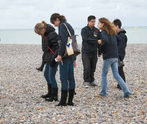 In France, students visit the beach at Dieppe. [PHOTO: SHARON ADAMS]