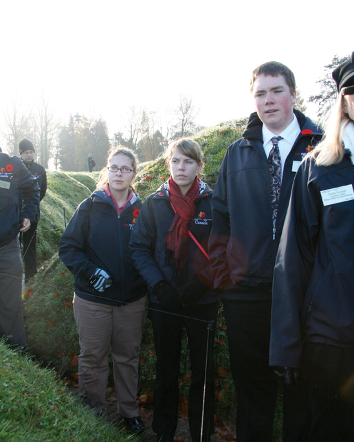 In France, students visit the trenches at Beaumont Hamel. [PHOTO: SHARON ADAMS]
