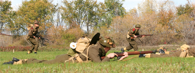 A mock battle unfolds as part of Camp Husky at Ottawa in  2008. [PHOTO: DAN BLACK]