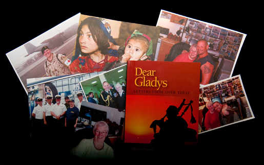 Gladys Osmond of Springdale, Nfld., has received photos from service personnel stationed around the world. The photos at right show her being hugged by some of her fans. [PHOTO: METROPOLIS STUDIO]