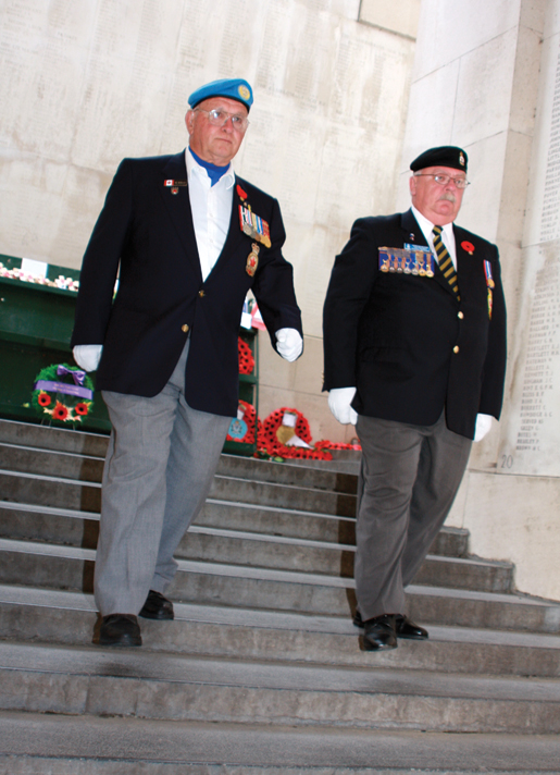 Sam Newman (left) and Dominion Vice-President Gordon Moore, seconds after placing a wreath at the Menin Gate Memorial in Ypres, Belgium. [PHOTO: SHARON ADAMS]