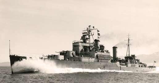 HMCS Uganda was renamed HMCS Quebec on Jan. 14, 1952. [PHOTO: LEGION MAGAZINE ARCHIVES]