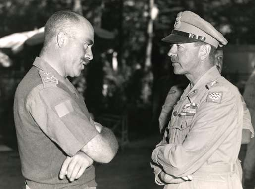 Major-General Chris Vokes (left) meets with Field Marshal Sir Harold Alexander. [PHOTO: LEGION MAGAZINE ARCHIVES]