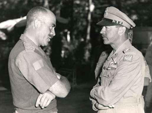 Major-General Chris Vokes (left) meets with Field Marshal Sir Harold Alexander. [PHOTO: LEGION MAGAZINE ARCHIVES]