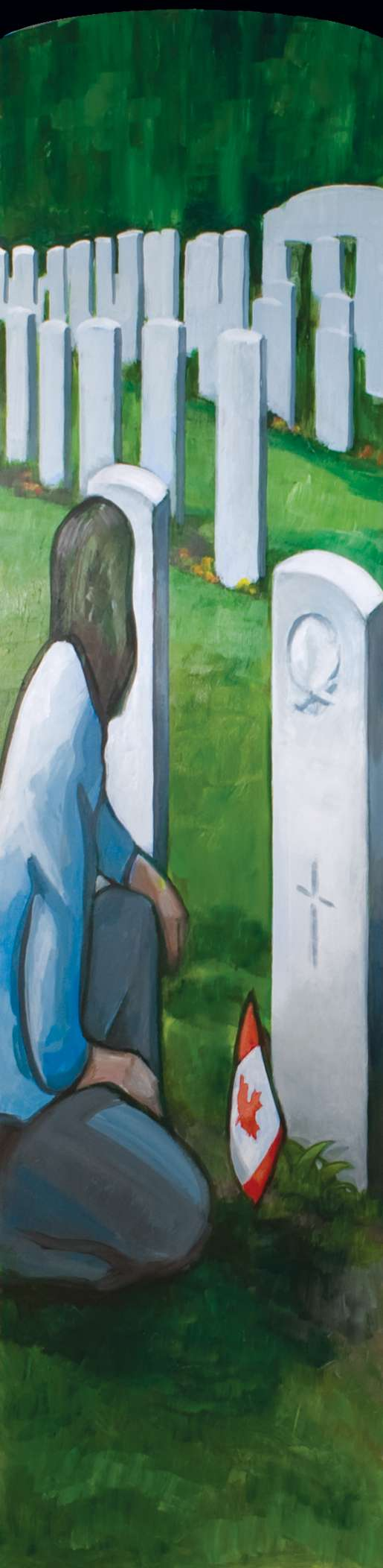 The headstone-like panels of  Together Side By Side commemorate the service and sacrifice behind the liberation of Europe 65 years ago. [PAINTING: KAROLE MAROIS]