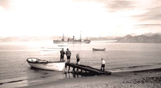 The Nascopie at anchor on Pond Inlet, N.W.T., August 1945. [PHOTO: ARTHUR H. TWEEDLE, LIBRARY AND ARCHIVES CANADA—PA184756]