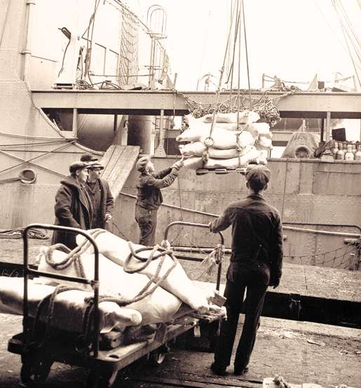 Cargo is loaded onto an unidentified  merchant ship at Halifax. [PHOTO: R. WRIGHT, LIBRARY AND ARCHIVES CANADA—PA184171]