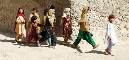 A group of girls stroll through the centre of town. [PHOTO: ADAM DAY]