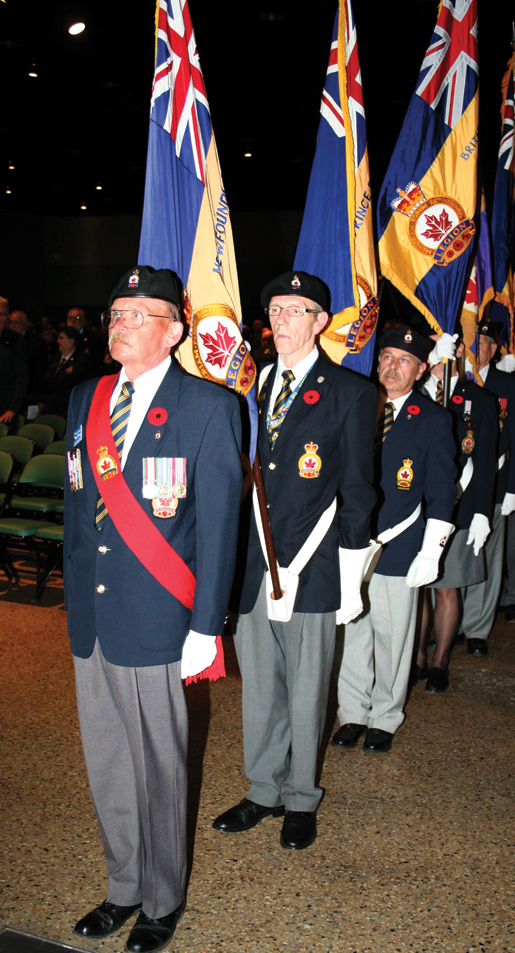 Sergeant-at-Arms Dusty Miller leads the colour party. [PHOTO: JENNIFER MORSE]